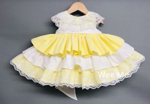 New Gorgeous Baby Girl Pale Yellow Spanish Dress Lace Detail